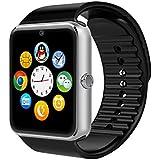 YinoSino GT08 Smart Watch / Reloj inteligente GT08 (disponible en español) / Reloj Bluetooth / Reloj Android / Reloj para la salud con pantalla táctil y cámara, Tarjeta Sim y puerto para tarjeta TF, batería de larga duración en tiempo de espera para teléfonos smartphone Android y los dispositivos IOS de iPhone (Plata)