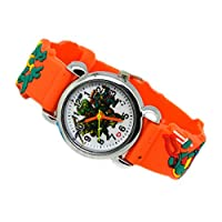 Shjiegan Safety Turtle Lovely Table Quartz New Children Table Cartoon Fashion Watch Student Watch Silicone Animation 2019 Student 3d(None Orange)