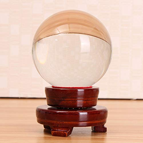 Anddod Clear Quartz Glass Magic Crystal Healing Ball Sphere with Stand Hobbies Kids Toys Home Decorations - Stand Crystal