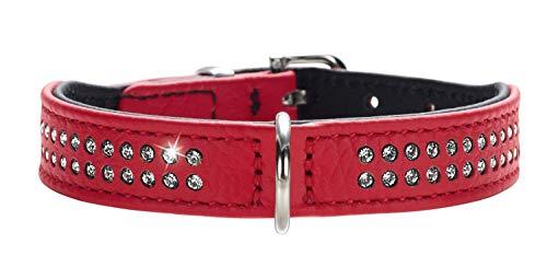 HUNTER DIAMOND PETIT Halsband für kleine Hunde, Leder, mit Strasssteinchen, 37 (XS-S), rot/schwarz