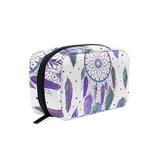 Mnsruu bolsas de maquillaje, atrapasueños y plumas, bolsa de viaje para cosméticos, neceser de aseo para mujeres y niñas
