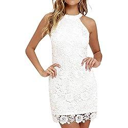 Vectry Vestidos De Playa Mujer Vestidos para Mujer Vestidos De Fiesta Cortos Elegantes para Bodas Vestidos Halter Verano Vestidos Casuales Vestidos Espalda Descubierta Vestidos Blanco