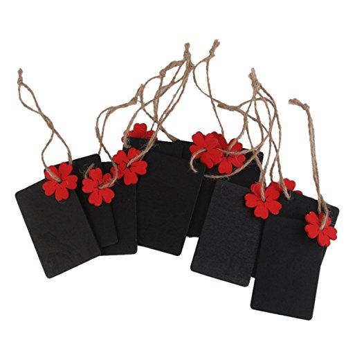 10PCS Mini Rechteck Kreidetafel Geschenkanhänger Holz Tafel Aufhängen Preis (rot Blume)