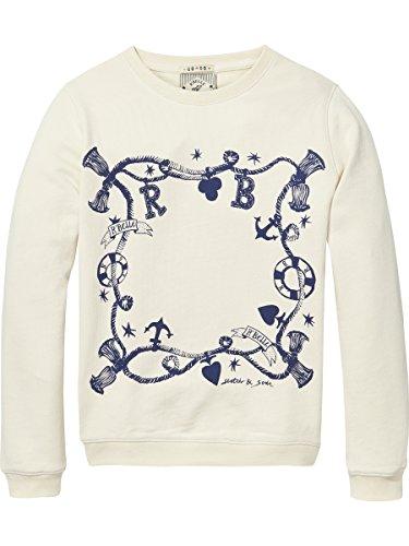 Scotch & Soda R'Belle Mädchen Artwork Crew Neck Sweatshirt, Beige (Off White 001), 104
