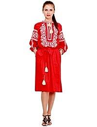 Bordado Vestido Largo Rojo para mujer. vyshyvanka. Ucrania bordar vestido