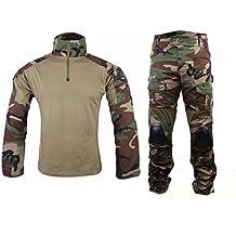 Hombres Ejército Militar Airsoft Game Shooting Gen2 G2 BDU Combate Uniforme camisa y pantalones traje con almohadillas protectoras de codo y rodillera Woodland Camo WorldShopping4U (M)