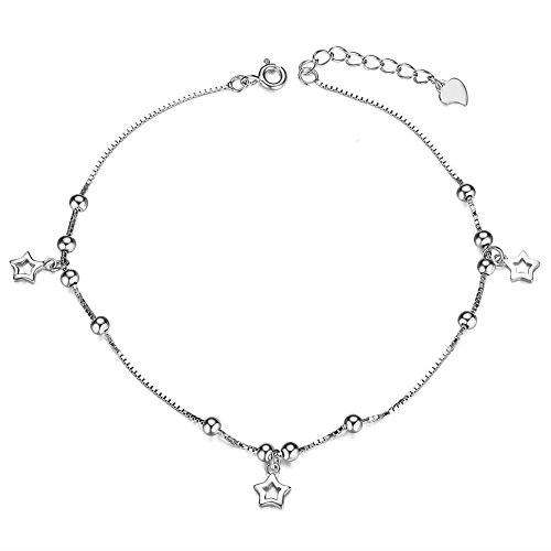 Sweetiee 925 Sterling Silver Anklet with Stars and Tiny Beads Platinum 210mm for Girls