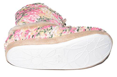 TMY- Damen Hüttenschuhe, wohlig warm mit bunten Textilmuster. Gr.: 37/38-41-42 Rosa
