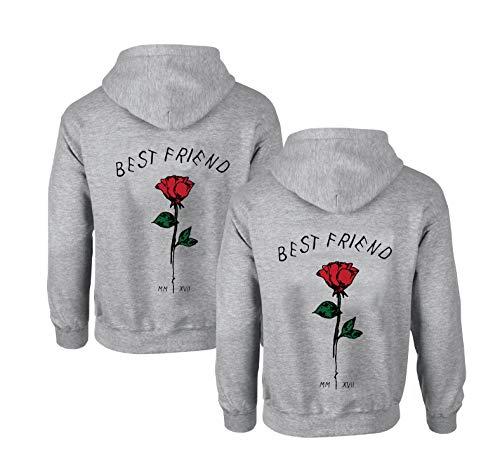 npullover für Zwei Damen Friends Pullover Sweatshirts Partner Look Damen Sweatshirts Sister Rose Pulli Hoodie mit Kapuze BFF warm Geburtstagsgeschenk (Grau, M + M) ()