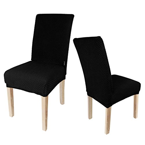 4 x Auralum® Classic Black Chair Covers Stretch Fabric Elastic Chair Covers Dining Chair Slipcovers Seat Protector-Size M