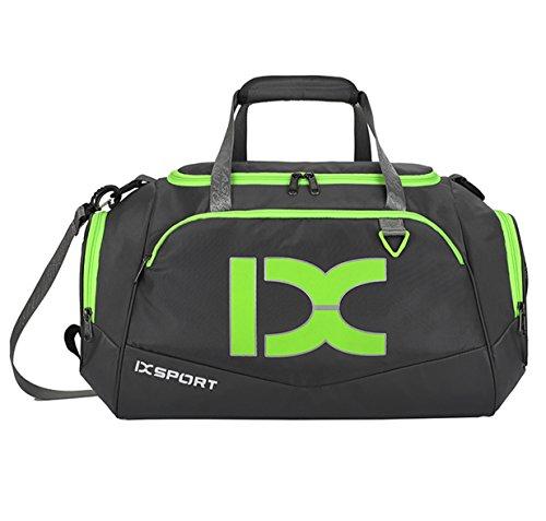 Suzone Oxford fitness bag Leisure borsa messenger bag borsa da palestra borsone sportivo borsone da viaggio, con scomparto per scarpe, donna, Black&White Grey&Green