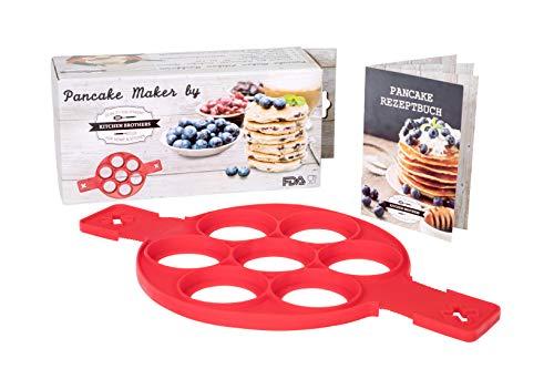 Pancake Maker, Pfannkuchen Form, Silikon Küchenhelfer, inkl. Rezeptheft, BPA frei, FDA geprüft - Pancake Flipper