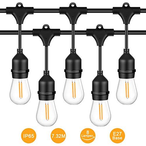 ichterkette 8 Hängenden Sockel Schnur Licht mit E27 LED Birnen, IP65 Wasserdicht String Licht als Innen Außen Beleuchtung Deko für Hochzeit Garten Party Haus ()