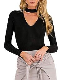 4ecf83b433e7 Damen Bodysuit Langarm V-Ausschnitt Body Elegante Stretch Tiefer Fit Tops  Basic Mode Marken Oberteile Shirt…