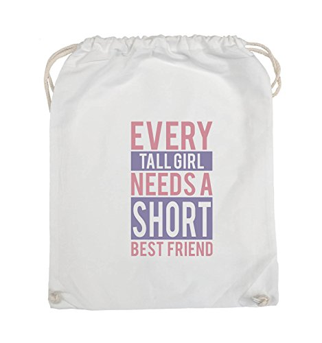 Comedy Bags - Every tall girl needs a short best friend - Turnbeutel - 37x46cm - Farbe: Weiss / Rosa-Violet (Fit Shorts Baumwolle Custom)