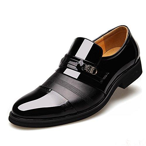Poplover Hombre Zapatos De Vestir Planos Oxford Zapatos de Cuero Estilo Británico Comodidad Zapatos Negro 41