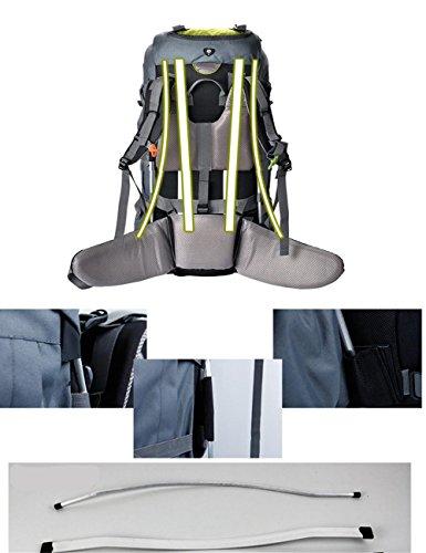 60L Zaini uomini e donne borse da viaggio Libro a Resina Mesh alpinismo impermeabile , yellow Green