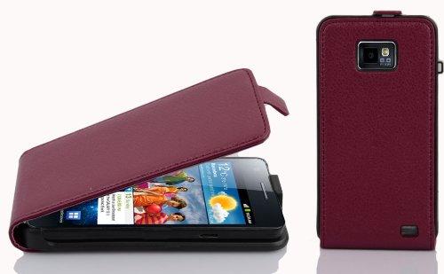 Cadorabo Hülle kompatibel mit Samsung Galaxy S2 / S2 PLUS Hülle in BORDEAUX LILA Handyhülle aus strukturiertem Kunstleder im Flip Case Cover Schutzhülle Etui Tasche - Lila Case S2
