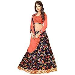 Terramart_lehanga Choli Tomato Red , Navy Blue, Orange & Leaf Green Colour Combinated Printed & Embroidered Bhagalpuri Cotton For Women