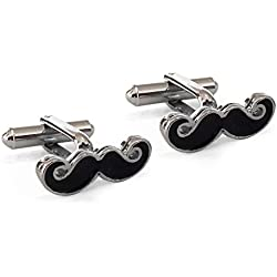 TiedRibbons Moustache Cufflinks for Men (Silver) in a Gift Box