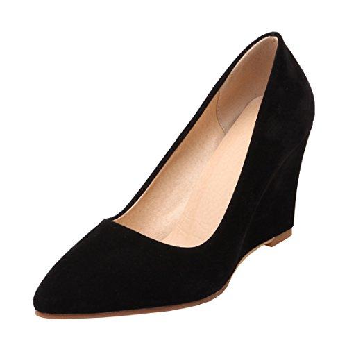 Agodor Damen Spitze High Heels Pumps mit Keilabsatz 8cm Absatz Elegant Büro Arbeit Schuhe
