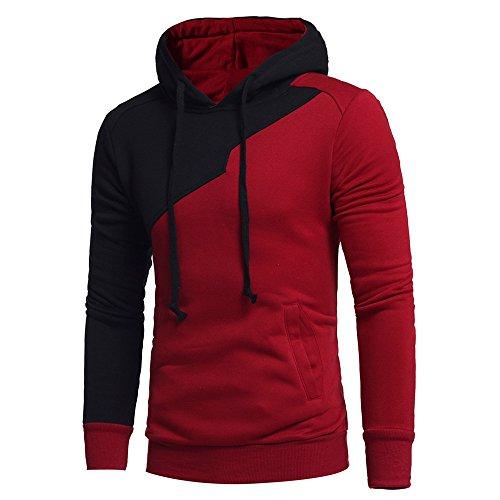HULKY Liquidazione Uomo Manica Lunga Felpa con Cappuccio Giacca Top Jacket Outwear Boho(Rosso,x-Large)