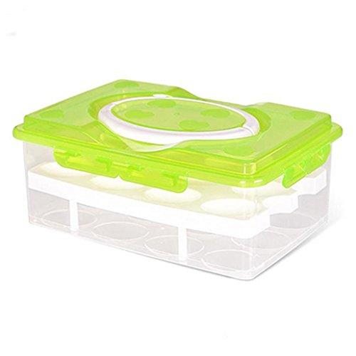Double couches 24 Grilles support pour œufs Boîte hermétique Plastique réfrigérateur Stockage Coque, plastique, Green, Taille M