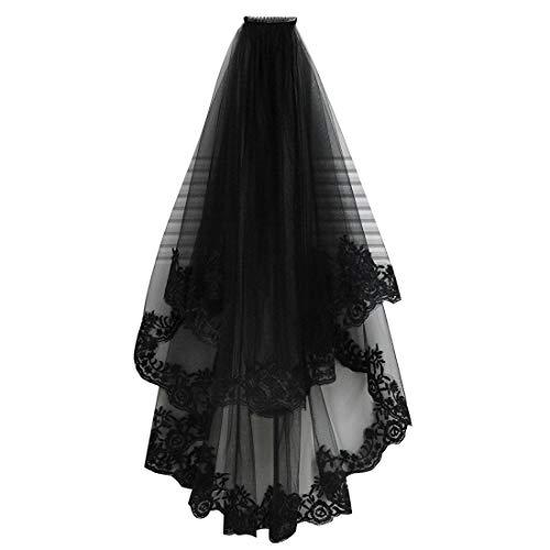 uu19ee Tocado de Halloween Chica Elegante Cosplay de Tul Cosplay Accesorios para el Cabello Negro Más Insertar Peine de Encaje Bordado Velo
