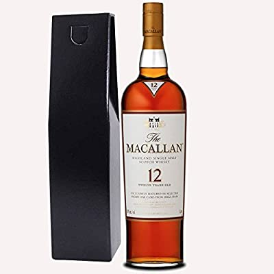 The Macallan Sherry Oak 12 Year Old Single Malt Whisky 70cl Bottle In Chic Black Gift Box with Hand Crafted Gifts2Drink Tag