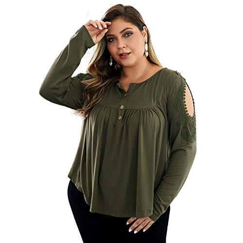 Luiyy 200 kg Fat Women Large Size Casual Pullover T-Shirt Europa Amerika Herbst Winter Tops Urlaub Wind Ärmel Spitze Ausschnitt Knopf Tunika Lose Pullover Gr. XX-Large, grün