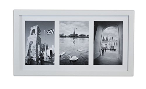 Golden State Art, 8.5x16.3 White Photo Wood Collage Frame with REAL GLASS and White Mat displays (3) 5x7 pictures by Golden State Art (Rahmen 5x7 Mat)