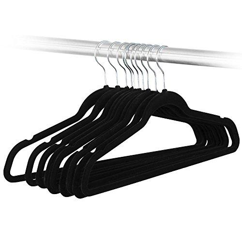 Klassische Bluse Findet (Yahee 100 x Kleiderbügel Anti-Rutsch Samt Anzugbügel Schwarz)
