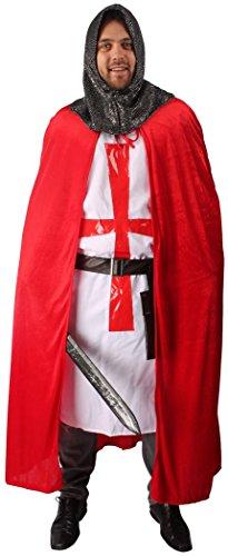 5-teiliges Kreuz-Ritter Kostüm-Set für Herren | Größe 58/60 | Kämpfer Kostümierung für Karneval | Krieger-Verkleidung in Rot-Weiß für Fasching | Mittelalter Karnevalskostüm für Fastnacht & Mottopartys - 2