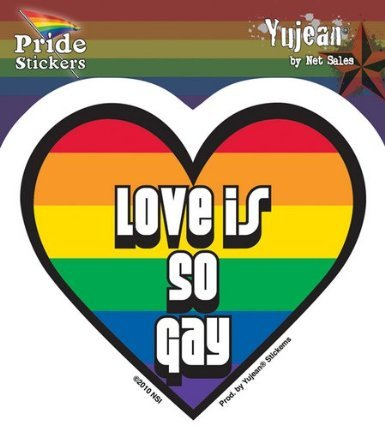 Rainbow Heart Love Is So Gay Pride etiqueta Sticker