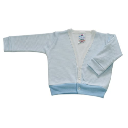 BabywearUK Baby Strickpulli Blau Gestreift - 6 -12 Monate - British Made