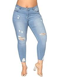 QinMM Femmes Trous Jeans Jeggings Plus Taille Longues Pantalons Skinny,  Denim Ont Déchiré étroits Mince Leggings Collant Crayon élastique… a9c4f32720de