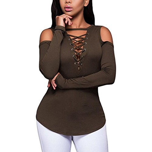 MRULIC Hot Selling Womens Girls Fashion Sexy Solid Strapless V-Neck Bandage Long Sleeve T-Shirt Tops Blouse