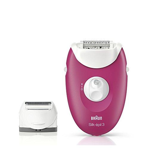 Braun Silk-épil 3 3-410 - Depiladora Eléctrica para mujer con 3 extras, color frambuesa