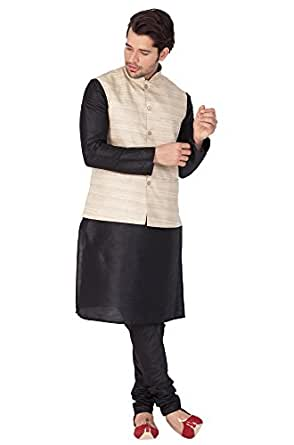 VASTRAMAY Men Cotton Silk Kurta Modi Jacket and Pyjama Set (Black_VASMJBG001nKBL001nPBL_40)