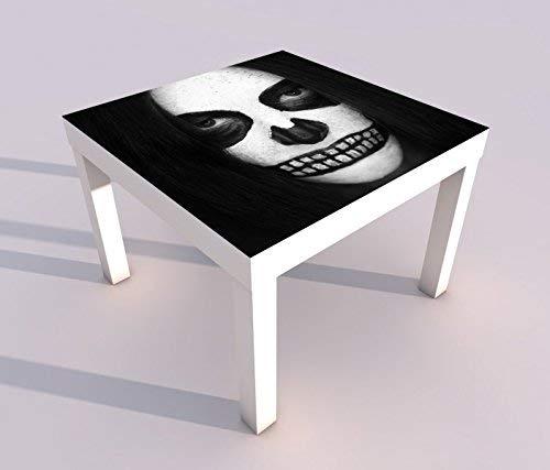 Design - Tisch mit UV Druck 55x55cm schwarz weiß Tod Horror Maske Gesicht weiß Spieltisch Lack Tische Bild Bilder Kinderzimmer Möbel 18A1623, Tisch 1:55x55cm -