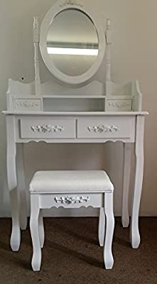White Rose Dressing Table Dresser Set With Adjustable Oval Mirror And Stool, Bedroom Make Up Furniture