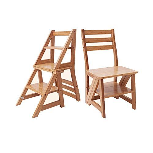 Klappstufen Tritthocker Trittleiter Klapptritt StufenHocker KleineLeiter Home Multifunktions-Massivholz-Klapp-Trittleiter für Erwachsene ZHANGQIANG (Farbe : Holzfarbe, größe : Large)