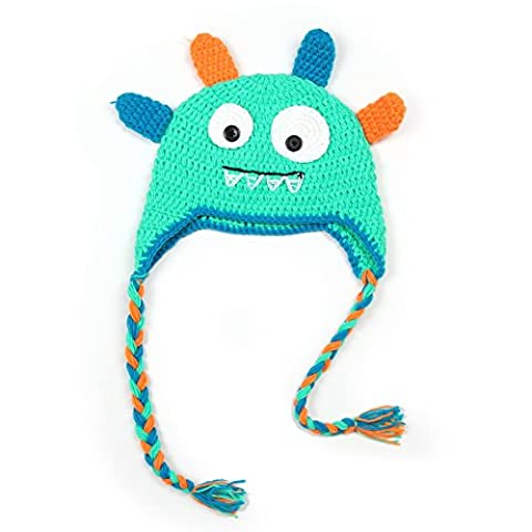 Vogholic Toddler Knit Winter Earflap Hat Monster Earmuff Skull Cap Beanie Green (Earflap Knit Cap)