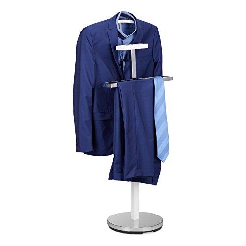 Relaxdays Herrendiener, Kleiderständer aus Metall, Stummer Diener freistehend, Kleiderbutler, HBT: ca 112 x 47 x 30 cm