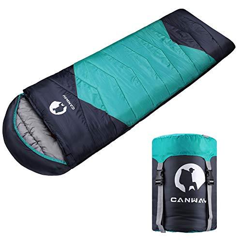 CANWAY Schlafsack Schlafsäcke Mumienschlafsack aus Baumwolle als Füllstoff wasserabweisend für Camping Indoor Outdoor Erwachsene im Winter 1,9KG (Cyan-Ployester)