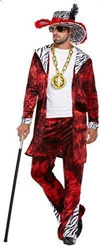 Pimp Gangster 1920s Jahre Kostüm Kleid Outfit STD & XL - Rot, X-Large (1920s Gangster Kostüm Herren)