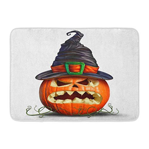 ghkfgkfgk Doormats Bath Rugs Outdoor/Indoor Door Mat Pumpkin Wearing Witch Hat As Orange Monster Scary Character on Autumn and Symbol for Creepy Halloween Bathroom Decor Rug 23.6 x 15.7 Inch (Halloween-party-ideen Monster High)
