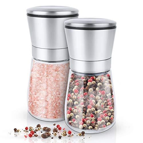 KRONENKRAFT moulin à sel et à poivre moulin à sel moulin à sel en verre avec moulin en...