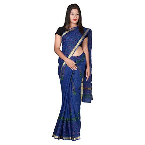 Panvi Kota Doria Cotton Silk Saree with Blouse Piece (P-40_Hand Block Printed...