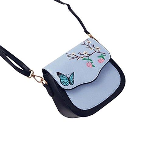 Farfalla fiore stampa borsetta, donne farfalla fiore stampa borsa borsa a tracolla tote Messenger pu borsa in pelle by Kangrunmy Blu